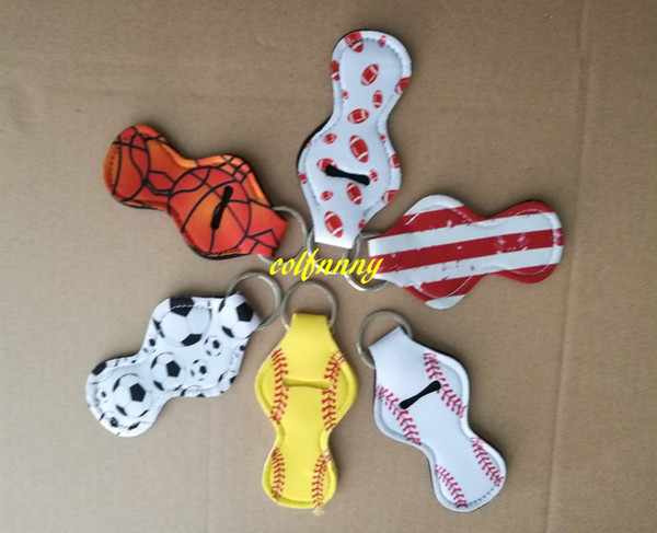 best selling 20pcs lot Flag Softball basket ball foot ball Baseball Printed Neoprene Chapstick Keychain Holder case bag Party Holiday Gifts