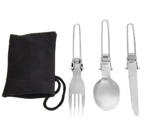 Free ShippingNew Arrivel 3Pcs Stainless steel Camping BBQ Hiking Picnic Folding Cutlery Set Knife+Fork+Spoon+Utensil Bag Outdoor Picnic Bags