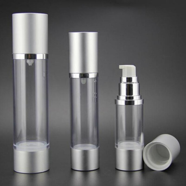 Bottiglia della pompa della lozione Airless riutilizzabile 30ML con pompa d'argento, contenitori per cosmetici sottovuoto in alluminio LX2267