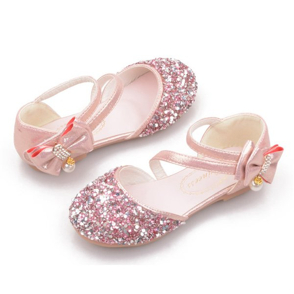 elegant girl sandals shoes beauty crystal bow princess sandals shoes for 1-12years girls kids children party dance performance shoes