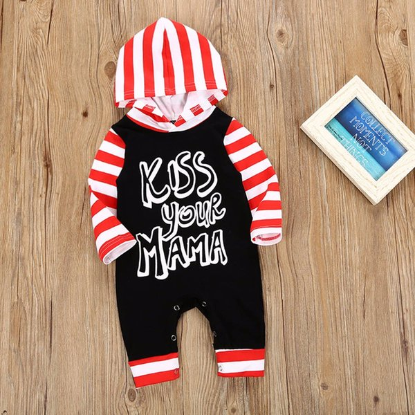 Infant Newborn Baby Girls Boys clothing set Letter Striped Hooded Long Sleeve Jumpsuit Romper Outfit winter suit costume for kid