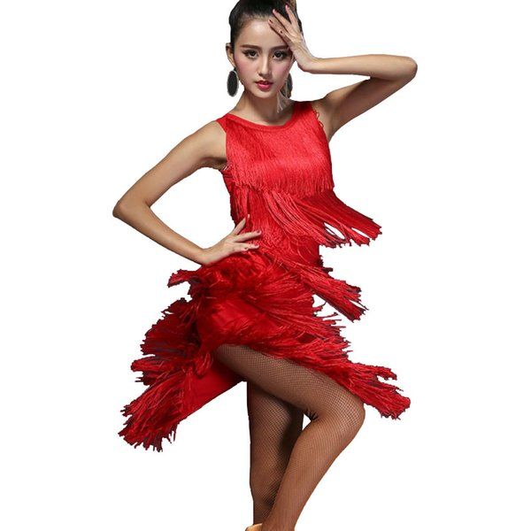 Sexy Latin Dance Dress Women Flapper Dress Salsa Tango Dress Samba D0023 with 5 Layers of Tassels 3 Colors