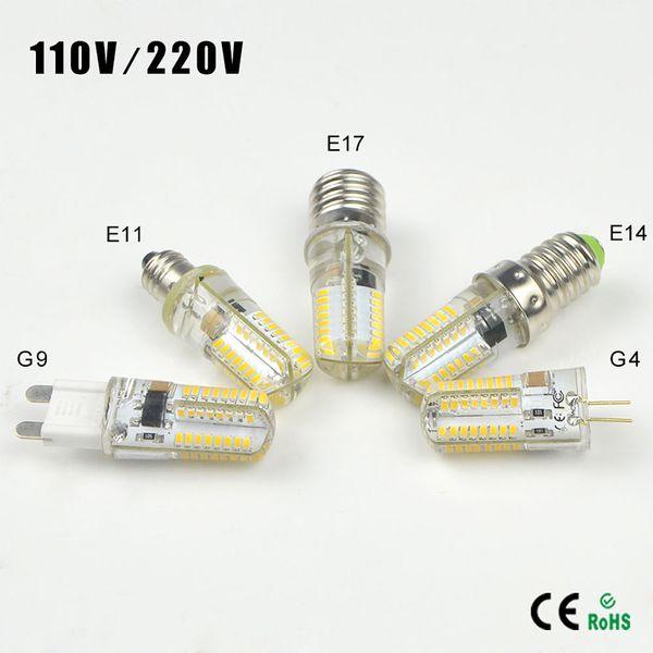 10pcs Silikon Dimmable G9 G4 E11 E12 E14 E17 LED Glühlampen ersetzen 40w Halogenlampe Wechselstrom 110V / 220V 64 LED freie Mais-Birnen-Lampe