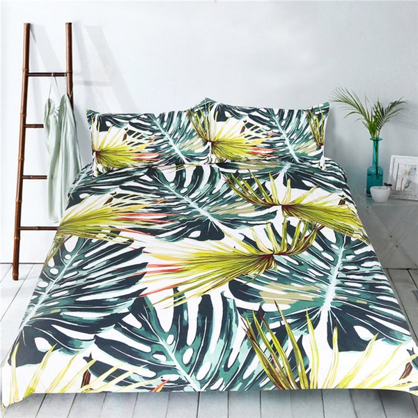 3D Bed Set Monstera Ceriman Bedding Set Polyester Green Duvet Cover  Pillowcase Twin Queen King Size Soft Bedclothes Dropship Duvet Covers Black  And