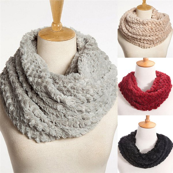 Women Winter Warm Infinity Circle Cable Knit Cowl Neck Faux Fur Scarf Shawl Gift Fashion