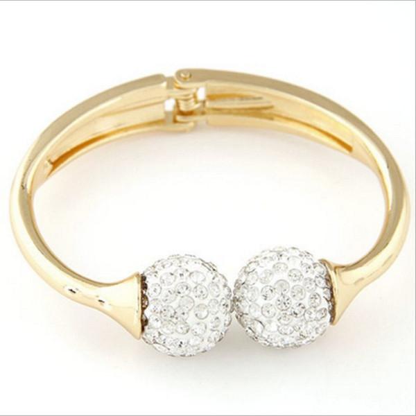Ball Crystal Cuff Bracelets Bangles Charm Bracelet For Women Gold Color Bracelet Bangles Jewelry Pulseira Feminina Bracciale