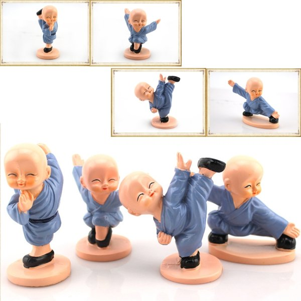 Christmas gifts Shaolin Temple kung fu little monk Car decoration crafts 4pcs/set Different shapes very cute Personalized gift.
