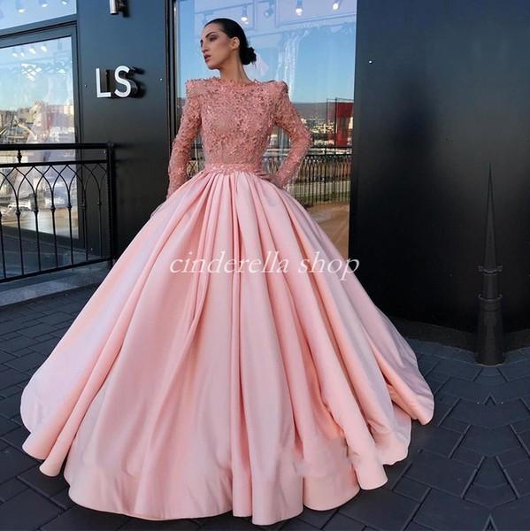 Blush Ball Gown Evening Dresses Long Sleeve Bateau Lace Top Long Formal Prom Party Gowns Celebrity Red Carpet Dress Vestidos De Fiesta