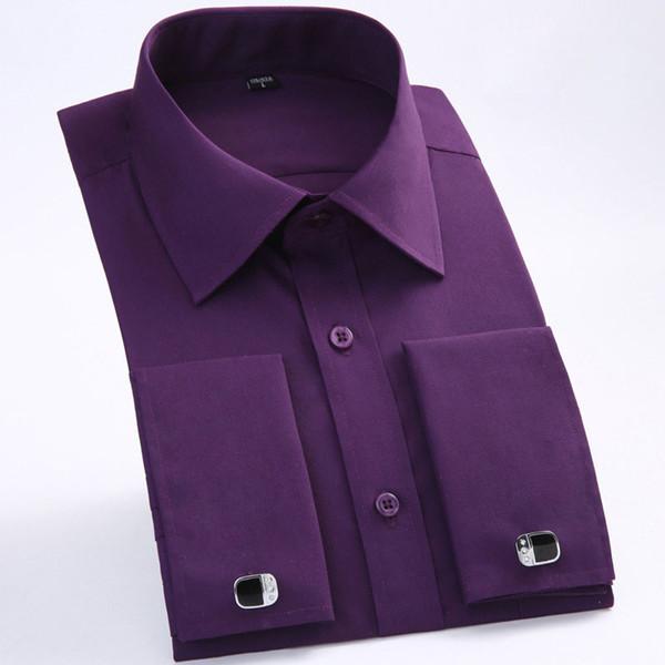 Men's French Cuff Dress Shirts 2018 Brand New Slim Fit Long Sleeve Tuxedo Shirt Wedding Bridegroom Shirts (Cufflinks Included)