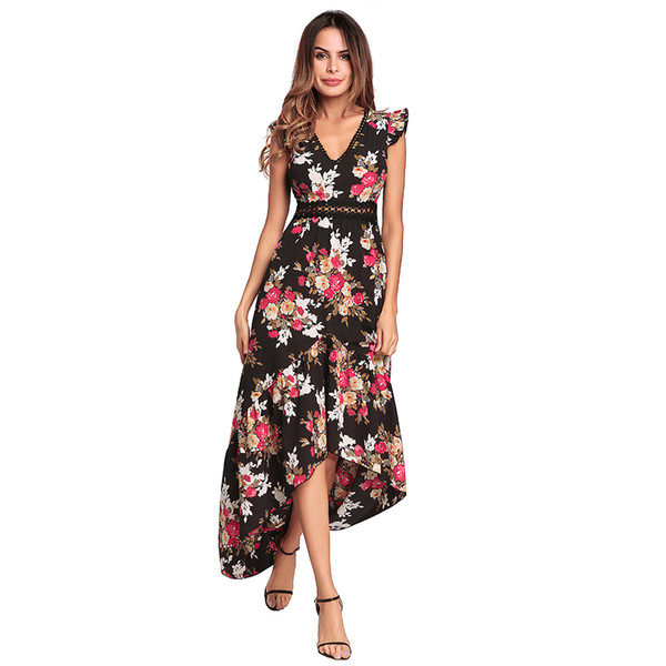 664921c303b Женская V-образным вырезом шифоновое длинное платье Летний пляж с цветочным  принтом Сплит Вечернее платье