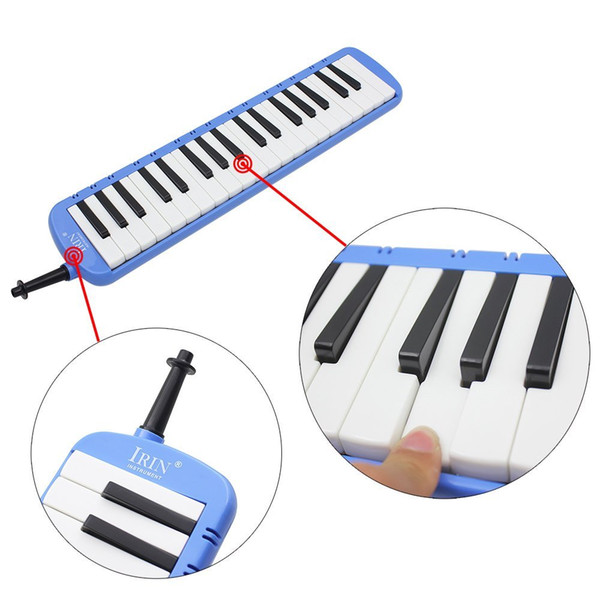 best selling IRIN 1set 37 Piano Keys Melodica Musical Instrument with Carrying Bag for Students Beginners Kids Blue