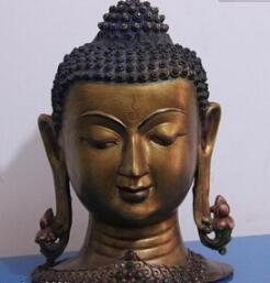 bi003660 11 Tibet Buddhism Pure Bronze Copper gild inlay Gem Sakyamuni Buddha Head Statue