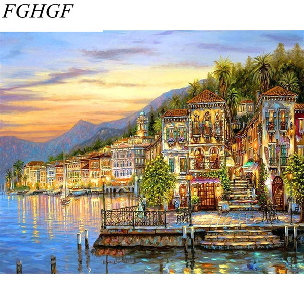 FGHGF Sunset Waterside Seascape DIY Painting By Numbers Kits Acrylic Picture Wall Art Canvas Painting For Room Decoration