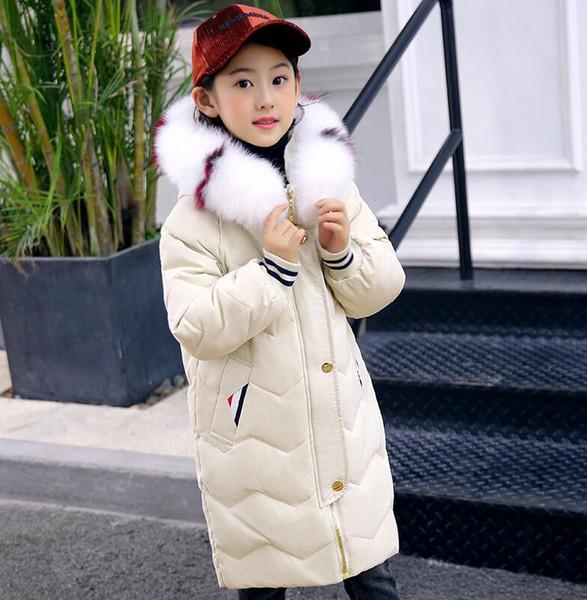 top popular Direct sales 2018 new children's down jacket girls long white duck down children's jacket 2021