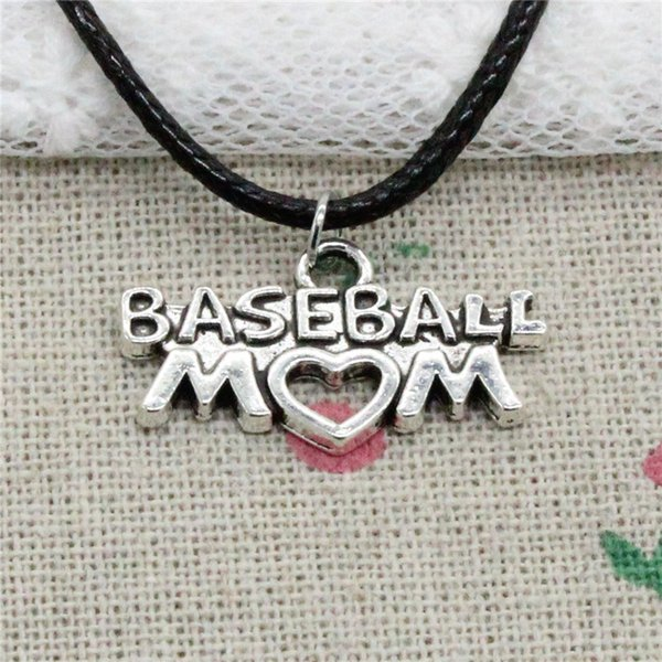 New Fashion Tibetan Silver Pendant baseball mom heart 15*27mm Necklace Choker Charm Black Leather Cord Handmade Jewelry