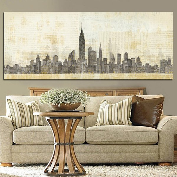 1 Piece Print Abstract New York Manhanta Skyline City Architecture Building Oil Painting on Canvas Wall Picture Poster No Framed