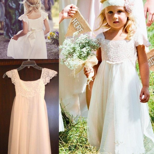 Boho Beach Cap Sleeves Flower Girl Dresses 2018 White Ivory Lace Chiffon Girls Kids Formal Dresses for Wedding with Sash First Communion