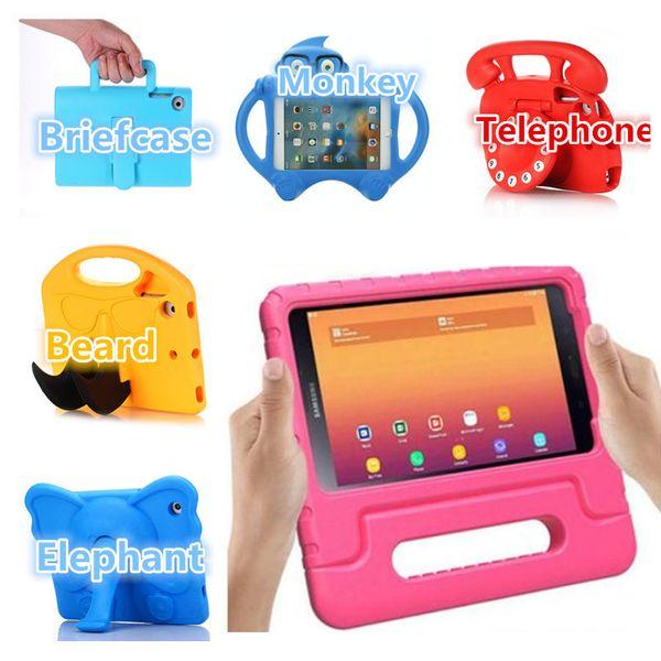 Kids EVA Foam Tablet PC Casos Protector a prueba de golpes de dibujos animados para iPad pro 9.7 Air Mini 234 Butterfly Tie Kickstand Cubierta de la tableta portátil