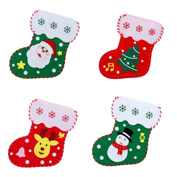 Handmade DIY Christmas Stockings Kids Children Educational Toys Candy Gift  Bag Christmas Party Decoration Favor Gift Shop Christmas Ornaments Shop ...