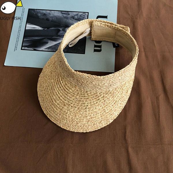 ladies uv roll up korean sun visor hat women sun visor straw raffia caps