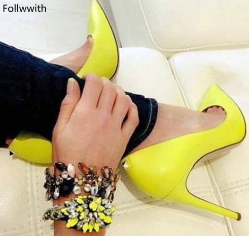 Großhandel Neongelb Lackleder Stiletto High Heels Zapatos Mujer Spitzen Zehen Frauen Pumpt Kleid Party Hochzeit Schuhe Für Frauen Von Dlshoes, $138.9