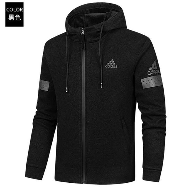 ZNE originals logo Sudadera hombre mujer Color sólido AD Hoodies Casual Side Zipper lovers sports suit Slim Sport sware Black Hoody