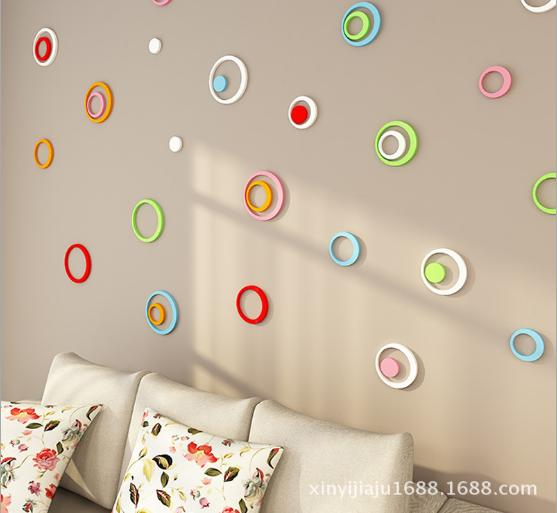 Wooden DIY Wall Sticker Home Decor 5pcs/set Solid Round 3D Sticker For Wall Mural Adesivo De Parede Fashion Living Room Bedroom