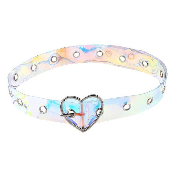 Fashion Cute Women's All-matched Belt Colorful Resin Plastic Transparent Belt Love Heart Shape Buckle Porous Belts
