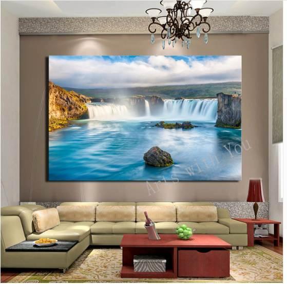 AtFipan Large HD Decorative Art Waterfall pittura a olio su tela per soggiorno Home Decor pitture murali immagini
