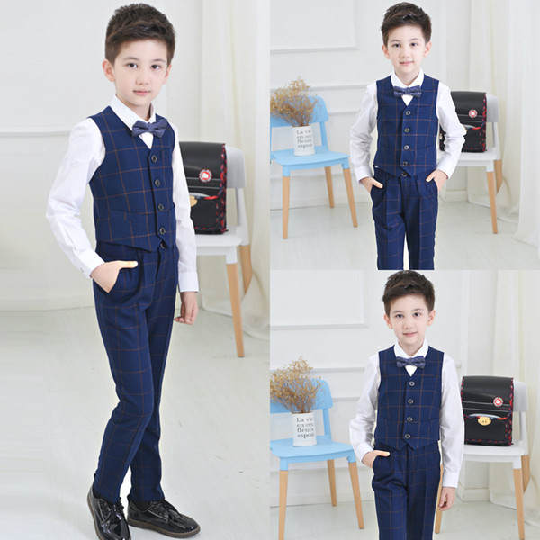 High Quality Two Pieces Boys Clothes Custom Made Damier Check Boys Formal Suits For Wedding Events(vest+pant)