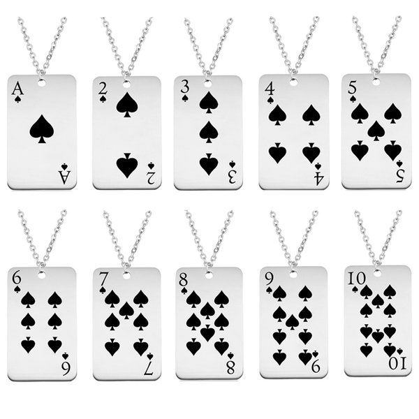 Spade Playing Card Pendant Necklaces Stainless Steel Poker Jewelry Women Men Charm Punk Necklace Wholesale New Arrival