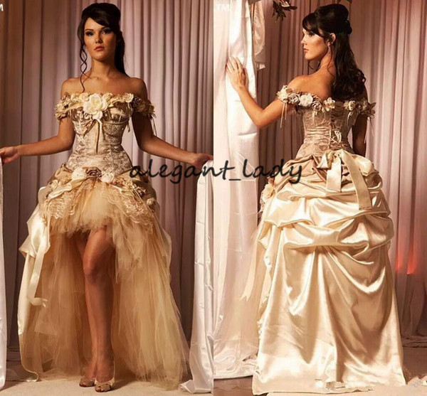 Princess Champagne Prom Dresses Hi-Low Lace Handmade Flowers Victorian Masquerade Evening Dress For 15 Years Sweet 16 Dresses plus size