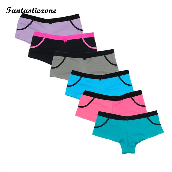 c5f9f93d793 6PCS/LOT New Cotton Boyshort Panties Shorts Women Soft Underwear Boy Shorts  Ladies Lingerie Female