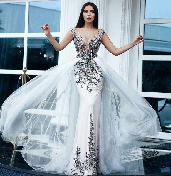 Splendida Overskirt White Mermaid Abiti da sera in rilievo profondo scollo a V con paillettes Prom Gown Abiti da Fiesta abito formale in raso