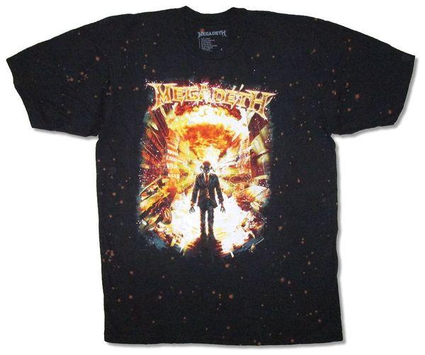 Megadeth-Explosions-Bleichmittel-Färbungs-Schwarz-T-Shirt Neues offizielles Dave Mustaine-oberstes freies Verschiffen-T-Shirt lustiges Baumwollt-shirt 100%