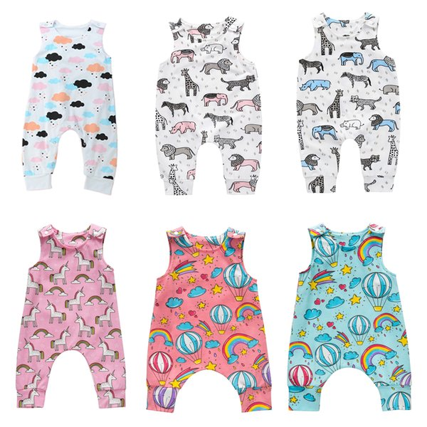 best selling Baby Print Rompers 81 Designs Cactus Forest Dinosaur Unicorn Alpaca 4th July Stars Boy Girls Newborn Infant Kids Summer Clothes Jumpsuit