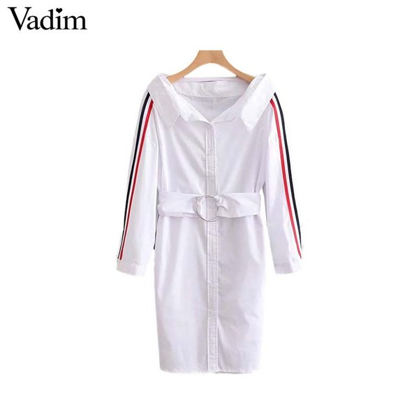 Vadim women stylish striped loose dress sashes pockets long sleeve pleated ladies office wear casual mini dresses vestidos QA348