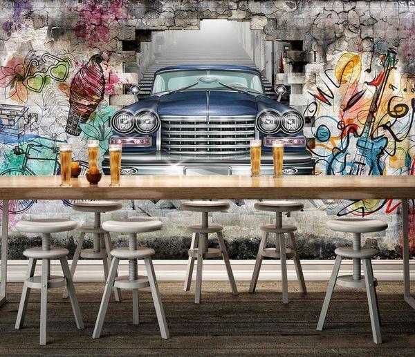 Benutzerdefinierte 3D-Druck Wallpaper Das Wohnzimmer Schlafzimmer Tapete Wandbilder für Wände Vintage Auto Hand gezeichnet Graffiti-Wand Foto Wandmalereien