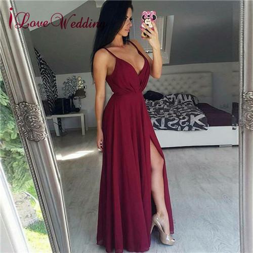 2018 Hot New Wedding Vestidos de dama de honor A Line Sexy Cuello en V Vino Rojo Gasa Longitud del piso Barato Largo Vestido de dama de honor junior