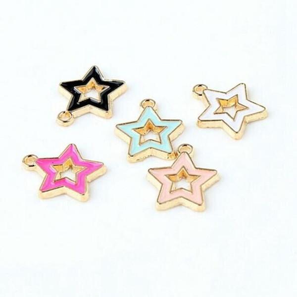 Wholesale 100pcs/lot mixed Oil Drop Fashion Zinc Alloy Star Charm Pendants Gold-Color Floating Enamel Fashion Jewelry Accessories FD58