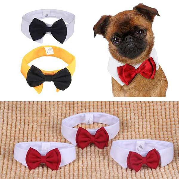 Cheap Accessories 1pc Cute Cotton White Tie and Red Bow Dog Puppy Bow Tie Necktie For Pet Dog Wedding