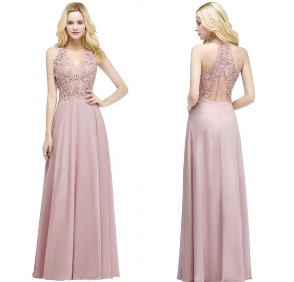 Real Pictures 2018 Blush Pink Long Evening Dresses V Neck Beaded Lace Appliqued Chiffon Cheap Bridesmaid Party Prom Gowns CPS912