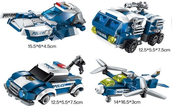 Mini Figures Transformation Police Car Building Bricks 6in1 Pleasantly surprised Gift kids corner productions a Robot
