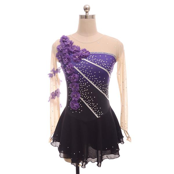 Purple black and simple purple flower figure skating costumes girl's skating performance costumes long sleeves grading suit