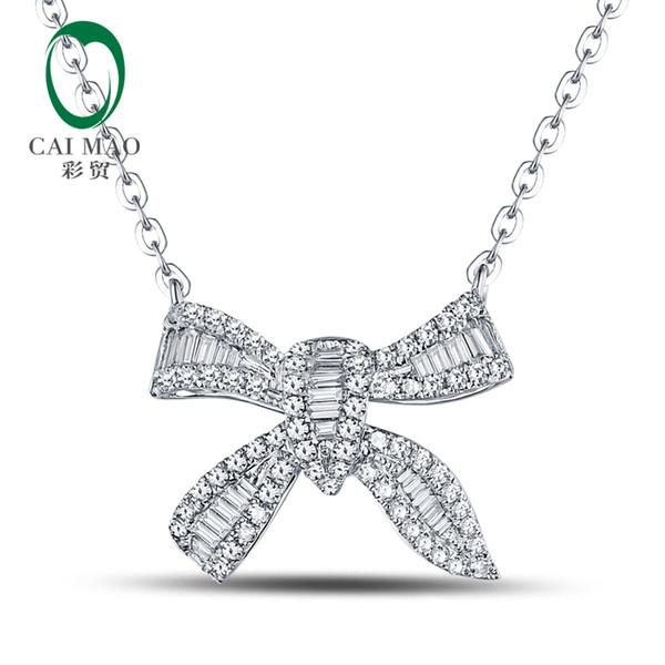 Caimao Natural 0.49ct Ronda Baguette Cut Diamond 18kt oro blanco collar colgante de joyería envío gratis