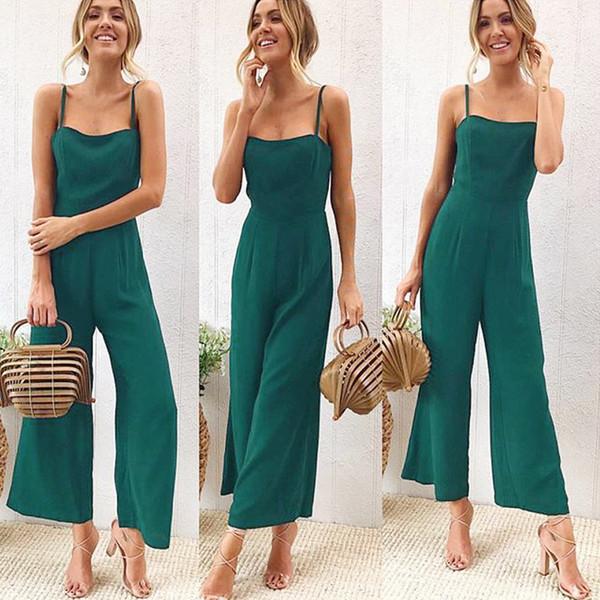 2a89e3b55bc New 2018 Summer Wide Leg Jumpsuit Women Sexy Spaghetti Strap Square Neck  Slim Waist Rompers Casual