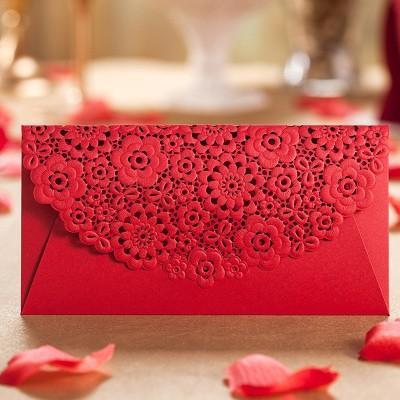 Cartão romântico Envelopes para o Casamento, Festa de casamento Favor Saco de Presente de Dinheiro Envelope Saco de Qualidade Superior Pacotes Vermelhos frete grátis 100 pcs