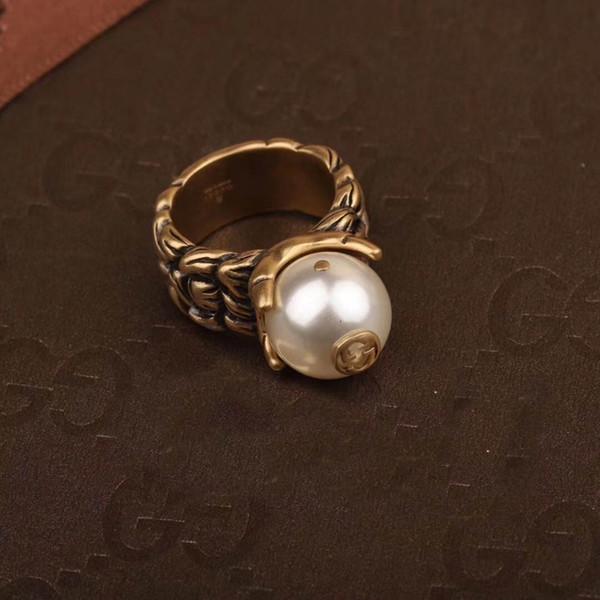 تصميم الشهيرة حلقة واحدة مع الطبيعة لؤلؤة تصميم ممتاز أعلى جودة النحاس للنساء خواتم الزفاف مجوهرات هدية في 6-8 # PS5430