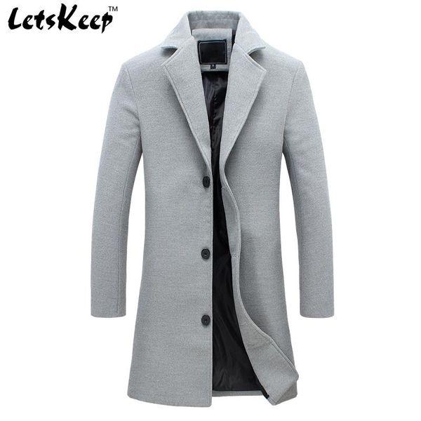 Wholesale- 2016 LETSKEEP new winter wool long coat men warm black business overcoat mens Stylish woolen jacket praka EU size S-4XL, ZA194