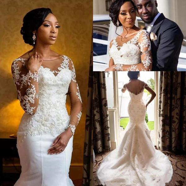 African 2018 Scoop Neck Black Girl Mermaid Wedding Dresses Sheer Long Sleeve Appliques Long Sweep Train Bridal Gowns Dresses Custom Made